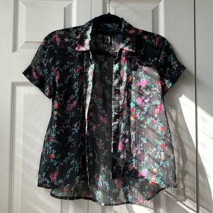 Black Button Down Sheer and Floral Blouse
